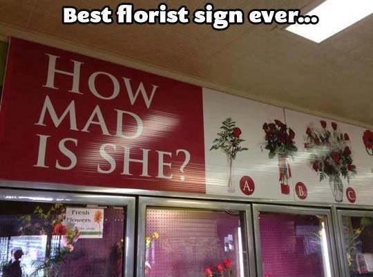 Funny Memes: best florist sign ever