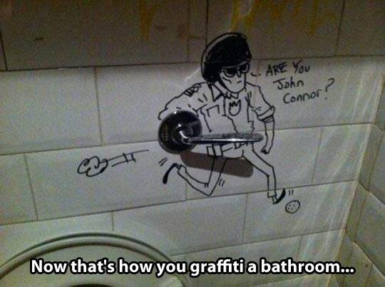 Funny Memes - graffiti a bathroom