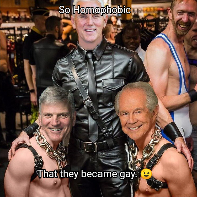 Political Memes - Mike Pence, Franklin Graham, and Pat Robertson at Gay Bar 😅